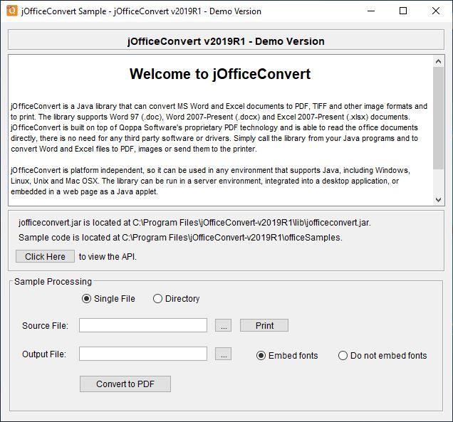 jOfficeConvert for Linux full screenshot