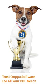 Qoppa's Dog Mascot. Trust Qoppa with ALL Your PDF Needs.