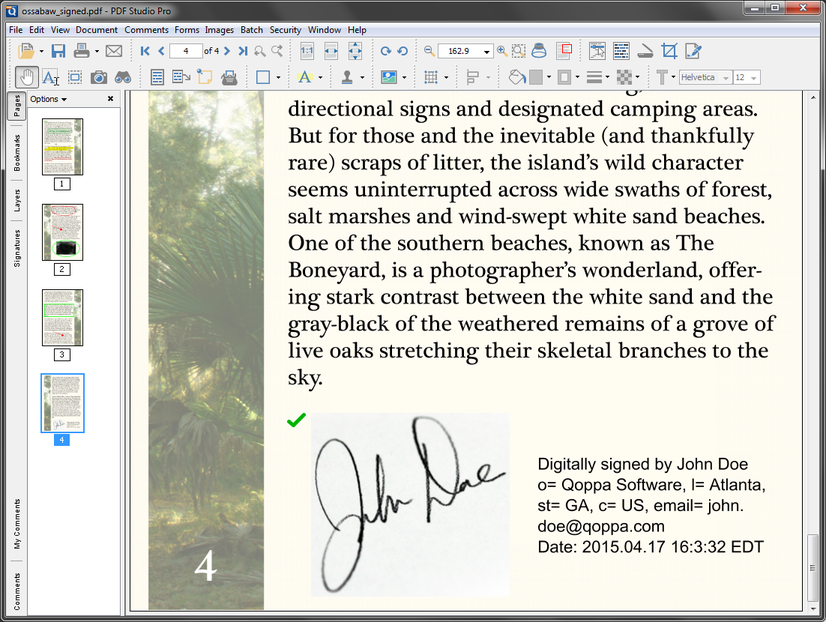 Signed Document - Qoppa Software - Java PDF Library and Tools